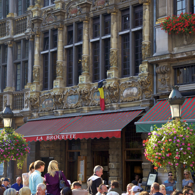 """Restaurant, Grand Place, UNESCO World Heritage Site, Brussels, Belgium, Europe"" stock image"
