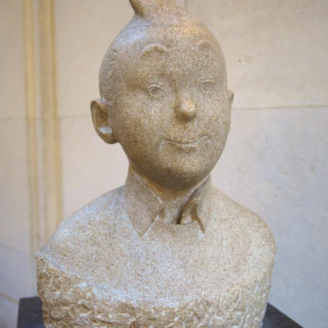 """Tin Tin Bust, Museum of Comic Strip Art, Brussels, Belgium, Europe"" stock image"