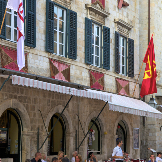 """Restaurant, Stradun, Dubrovnik, Croatia, Europe"" stock image"