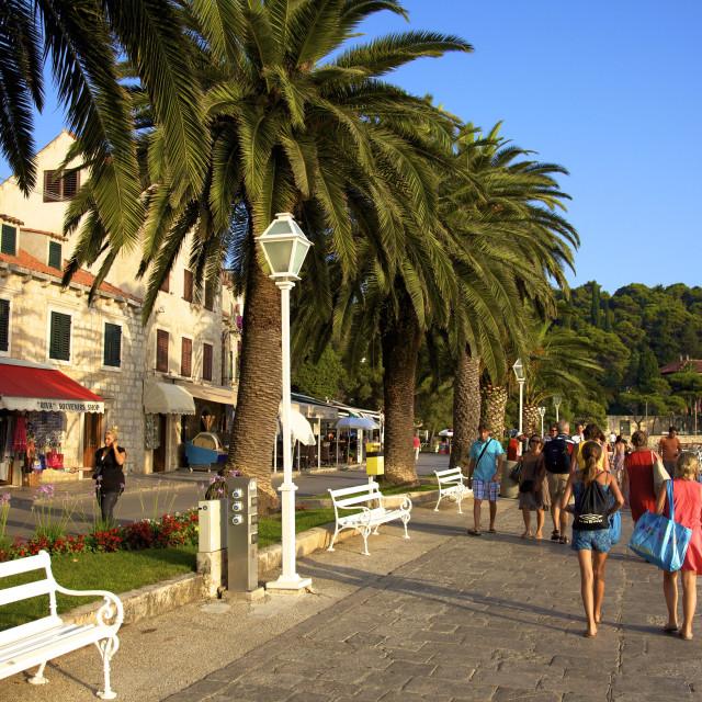 """Esplanade, Cavtat, Dalmatia, Croatia, Europe"" stock image"