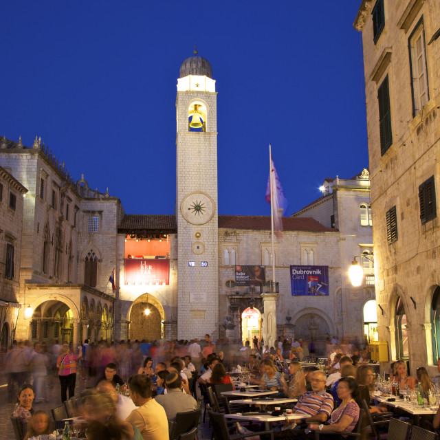 """Restaurants, Clock Tower and Stradun, Dubrovnik, Croatia, Europe"" stock image"