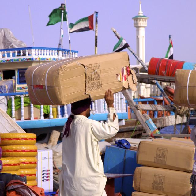 """Shipping goods at Dubai Creek, Dubai, United Arab Emirates, Middle East"" stock image"