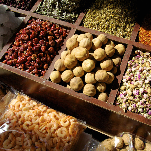 """Street stall selling herbs and dried food, Dubai, United Arab Emirates,..."" stock image"