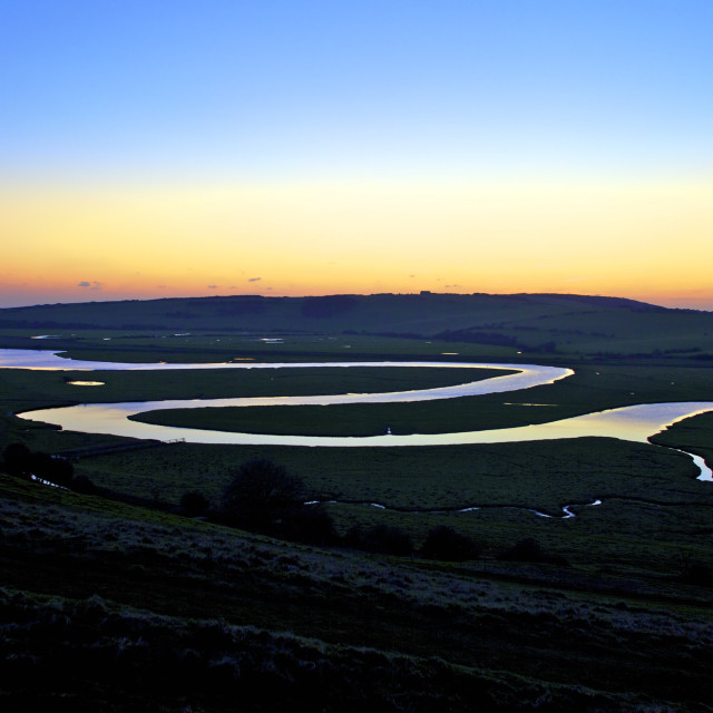 """Cuckmere Haven at sunset, South Downs National Park, East Sussex, England,..."" stock image"
