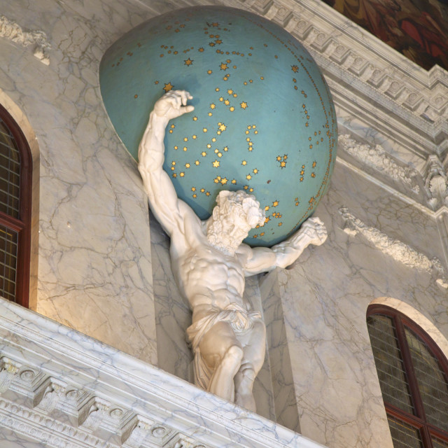 """""""Statue of Atlas holding the Universe on his shoulders in the Royal Palace,..."""" stock image"""