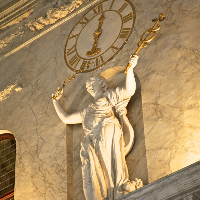 """""""Clock and statue in Royal Palace, Amsterdam, Netherlands, Europe"""" stock image"""
