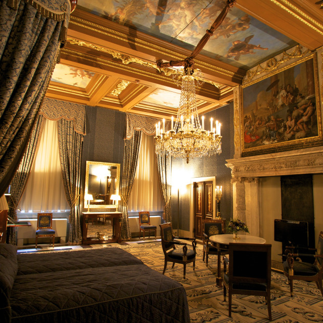 """""""Bedroom in Royal Palace, Amsterdam, Netherlands, Europe"""" stock image"""