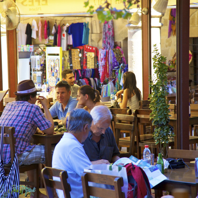 """Restaurant in Buyuk Han, North Nicosia (Lefkosa), North Cyprus, Cyprus, Europe"" stock image"