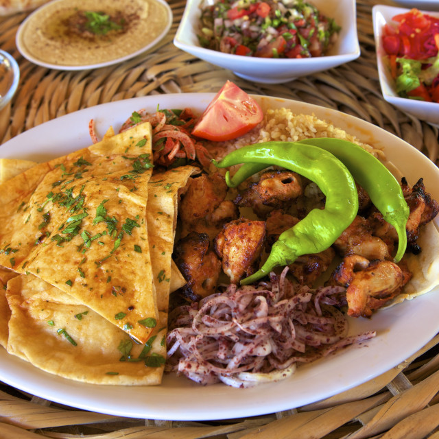 """Chicken kebab, North Cyprus, Cyprus, Europe"" stock image"