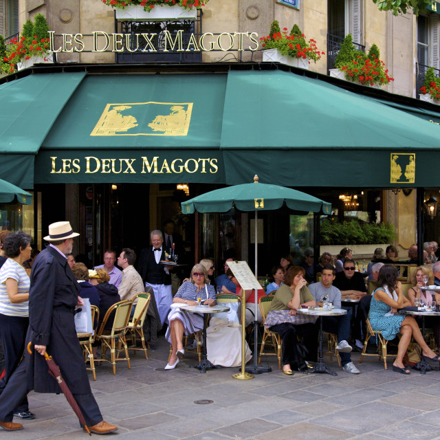 """Les Deux Magots Restaurant, Paris, France, Europe"" stock image"
