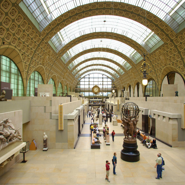 """Elevated view of the interior of the Musee d'Orsay, Paris, France, Europe"" stock image"