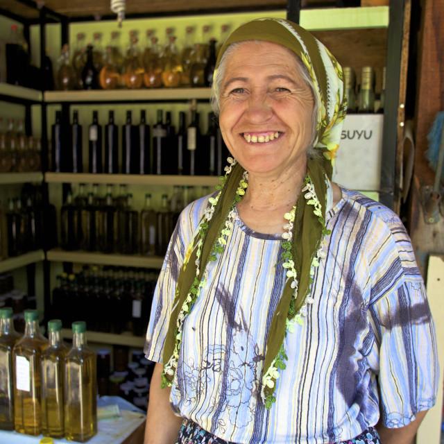 """Turkish lady selling local produce, Sirince, Anatolia, Turkey, Asia Minor,..."" stock image"
