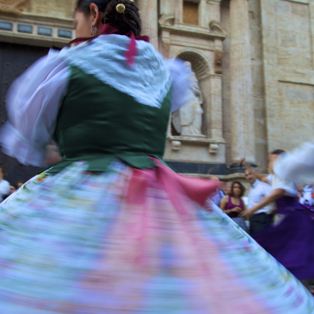 """Traditional dancing outside the 13th century Iglesia y Convento Del Carmen,..."" stock image"