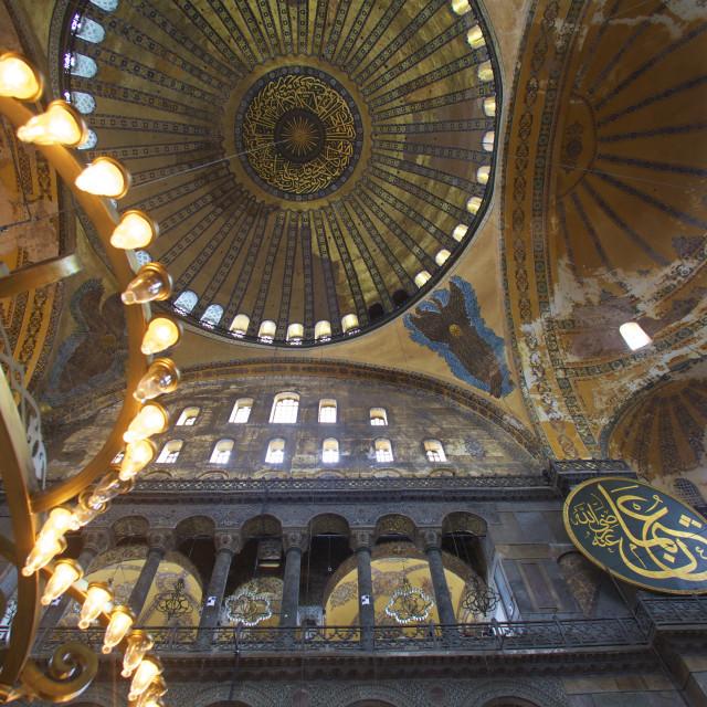 """Interior of Haghia Sophia, (Aya Sofya Mosque), The Church of Holy Wisdom,..."" stock image"