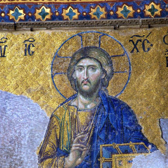 """Mosaic of Jesus Christ, Interior of Haghia Sophia, (Aya Sofya Mosque), The..."" stock image"