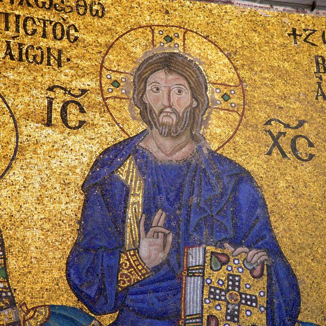 """Mosaic of Christ, Interior of Haghia Sophia, (Aya Sofya Mosque), The Church..."" stock image"