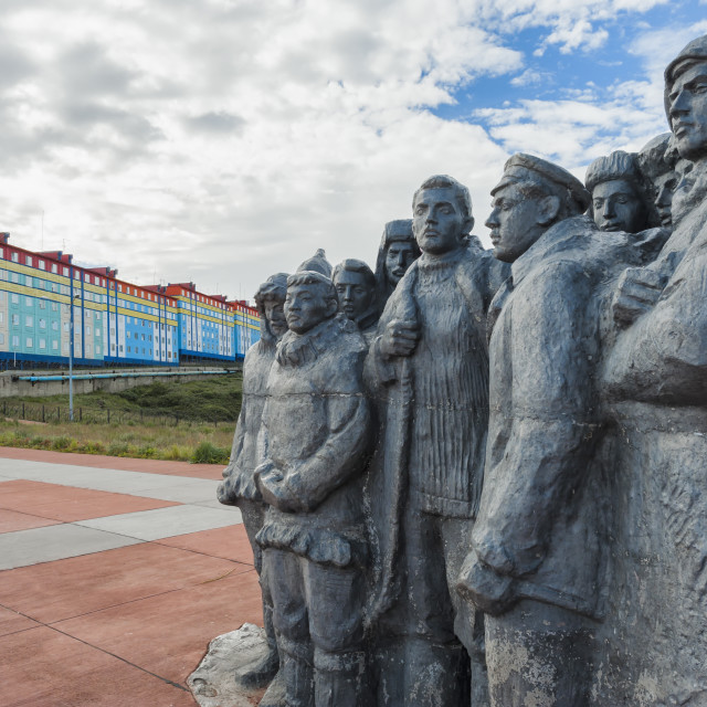 """""""Monument to the first Revkom (First Revolutionary Committees), Siberian city..."""" stock image"""