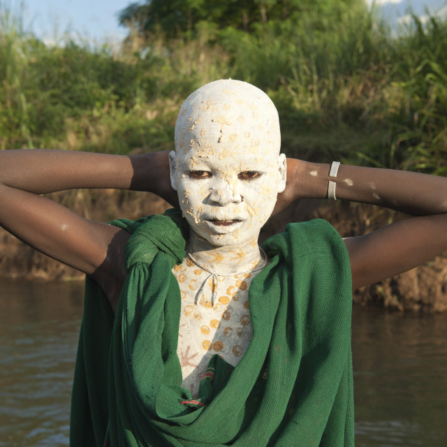 """Surma boy with body paintings, Kibish, Omo River Valley, Ethiopia, Africa"" stock image"