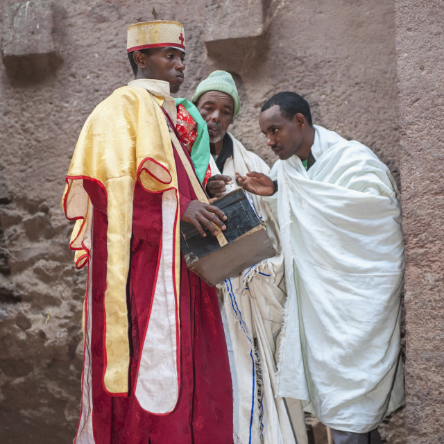 """""""Priest holding relics from the Bete Medhane Alem Church, Lalibela, Amhara..."""" stock image"""