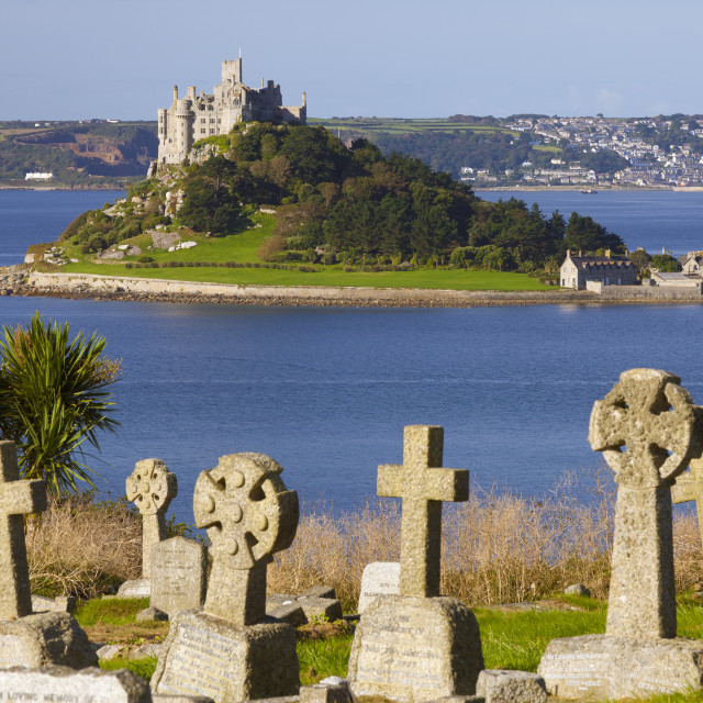 """Cemetery with St. Michael's Mount in the background, Cornwall, England,..."" stock image"
