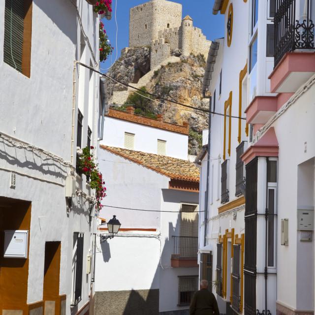 """Moorish Tower in the hilltop village of Olvera, Olvera, Cadiz Province,..."" stock image"