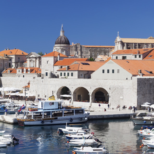 """""""Old harbour and old town, UNESCO World Heritage Site, Dubrovnik, Dalmatia,..."""" stock image"""