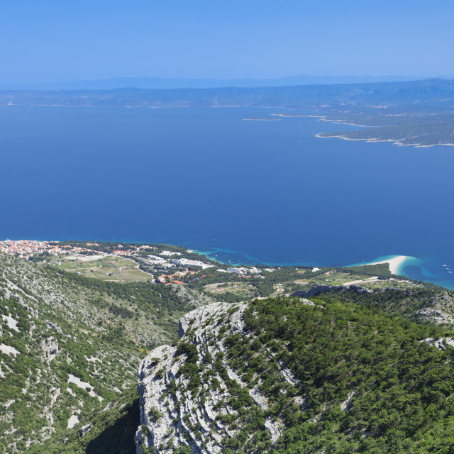 """View from Vidova Gora to Bol, Zlatni Rat beach and Hvar Island, Brac island,..."" stock image"