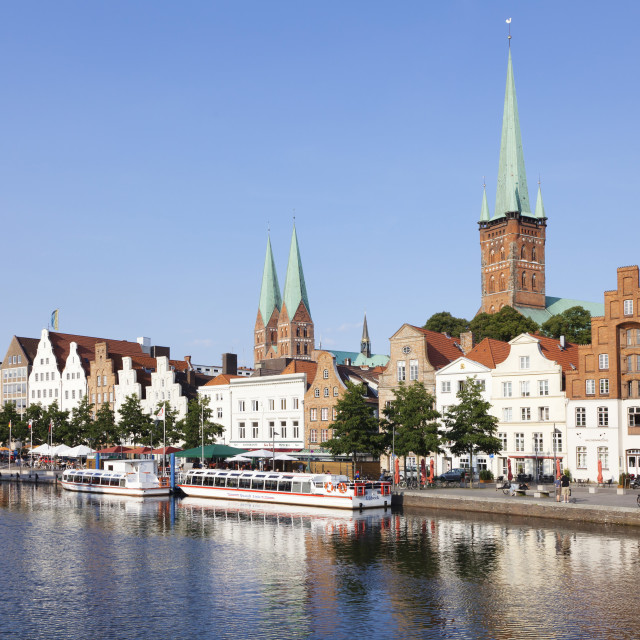 """""""River Stadttrave with Petri church and Marien church, Lubeck, Schleswig..."""" stock image"""