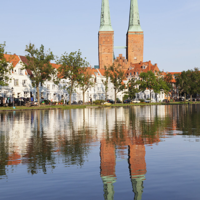 """""""Cathedral reflected in the River Trave, Stadttrave, Lubeck, Schleswig..."""" stock image"""