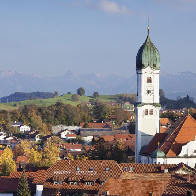 """St. Andreas Church, Nesselwang, Ostallgau, Allgau. Allgau Alps, Bavaria,..."" stock image"