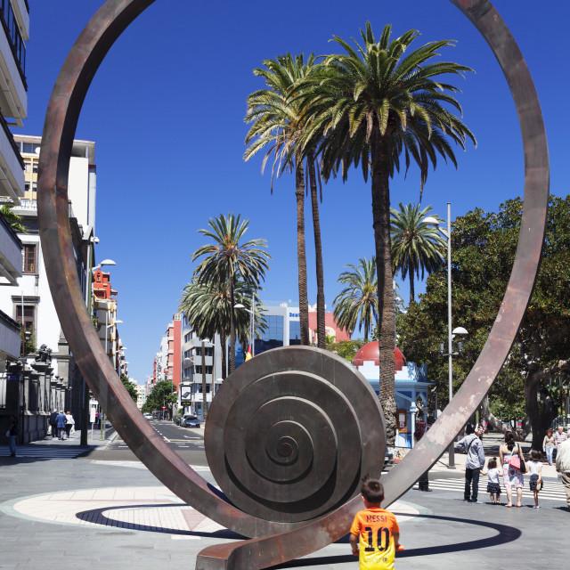 """""""Sculpture at Calle Mayor de Triana, Las Palmas, Gran Canaria, Canary Islands,..."""" stock image"""