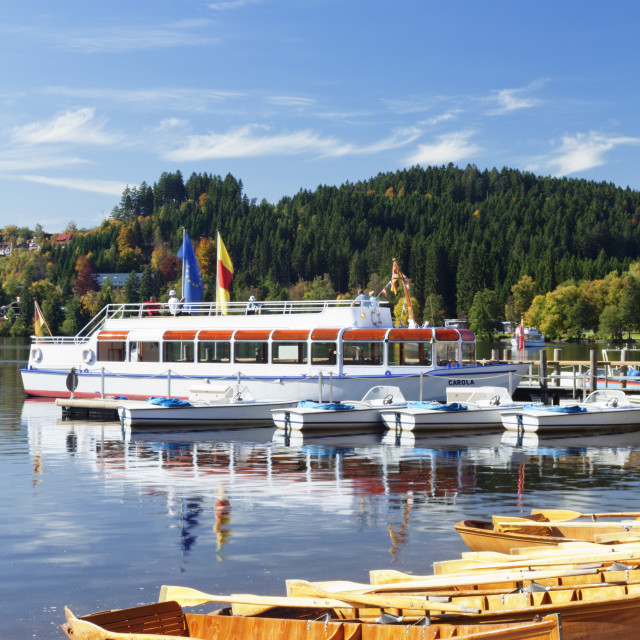 """""""Rowing boats at Titisee Lake, Titisee-Neustadt, Black Forest, Baden..."""" stock image"""