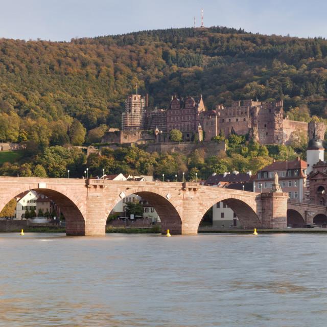 """""""Karl Theodor Bridge, Stadttor, Castle und Heilig Geist church, Heidelberg,..."""" stock image"""