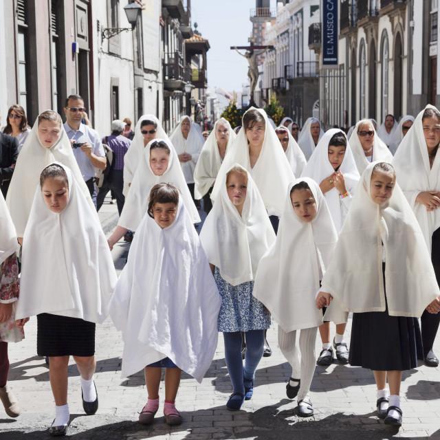 """Easter procession Semana Santa, Vegueta old town, Las Palmas, Gran Canaria,..."" stock image"