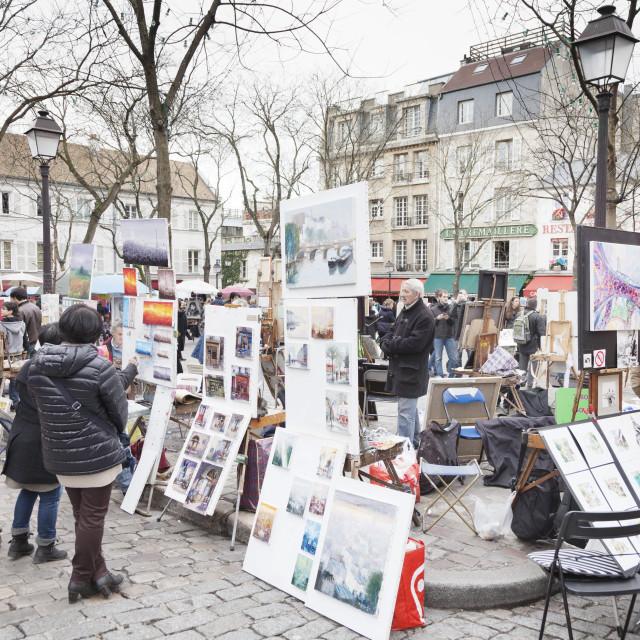 """""""Paintings for sale in the Place du Tertre, Montmartre, Paris, Ile de France,..."""" stock image"""