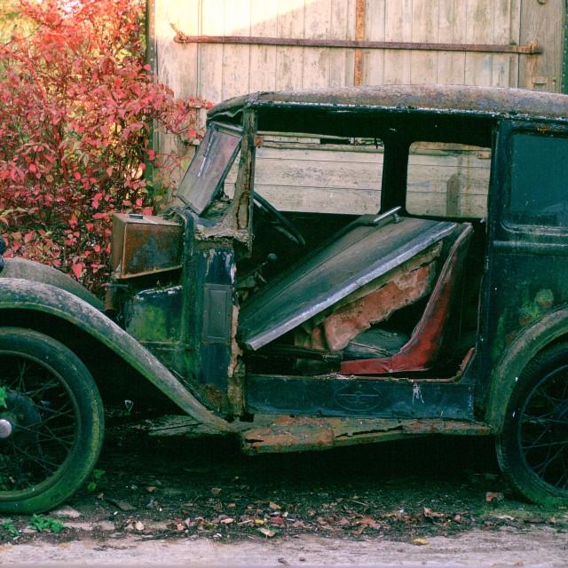 """A run-down 1933 Austin classic motor car awaiting restoration and renovation..."" stock image"
