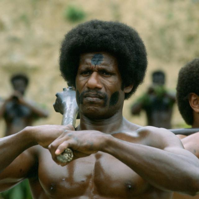 """""""A traditional Fijian Warrior Guard, Fiji, South Pacific"""" stock image"""