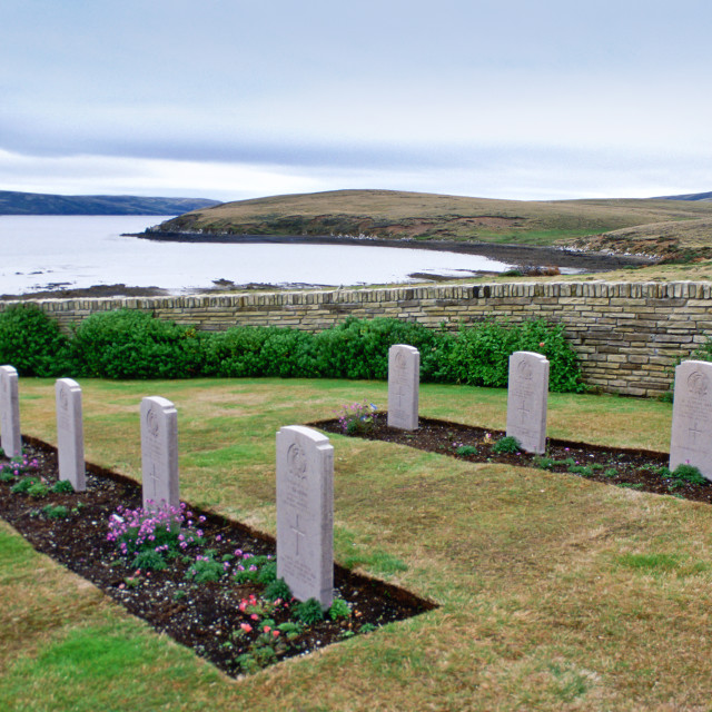 """Headstones at Blue Beach Cemetery, San Carlos, Falkland Islands"" stock image"