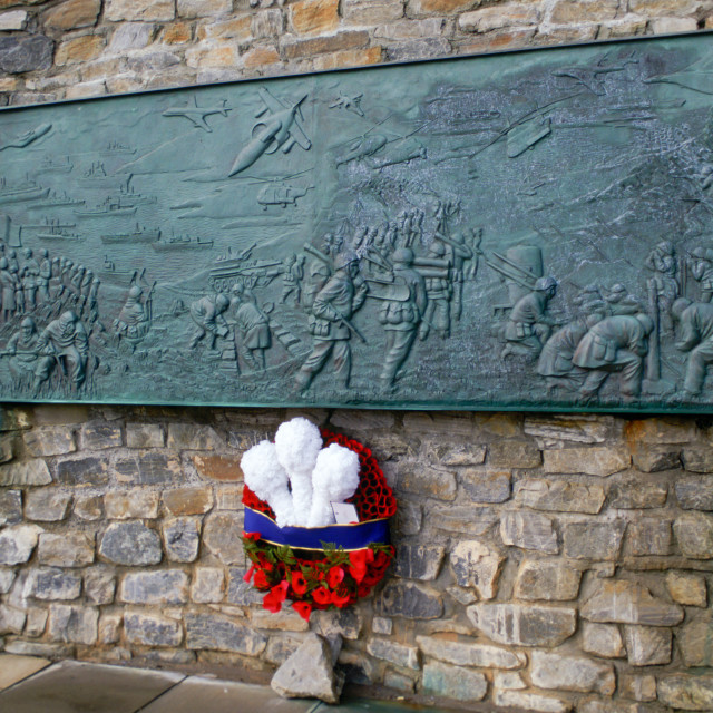 """Wreath on 1982 Liberation Memorial at Port Stanley, Falkland Islands"" stock image"