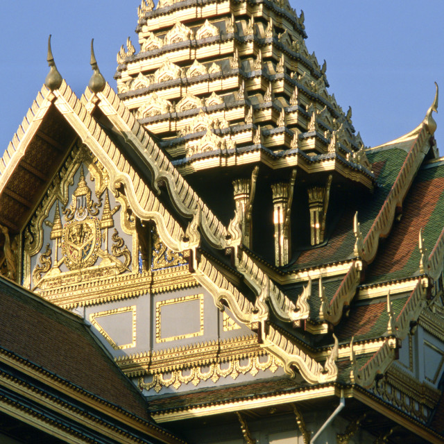 """""""Detail of the ornately decorated roof of the Grand Palace in Bangkok, Thailand."""" stock image"""