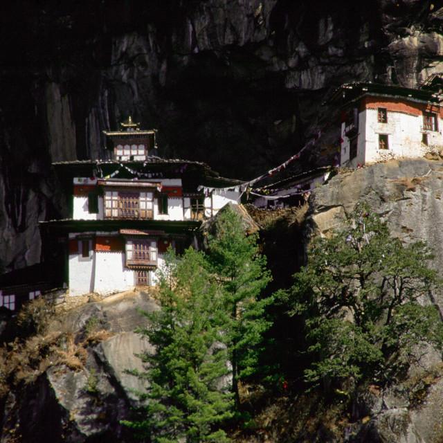 """The Tak Tsang (Tiger's Nest) Buddhist monastery nestled on the granite cliffs..."" stock image"