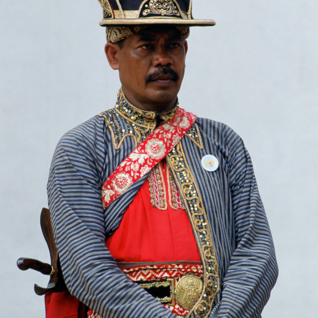 """Ceremonial dress at Sultan's Palace, Yogya Karta, Indonesia"" stock image"