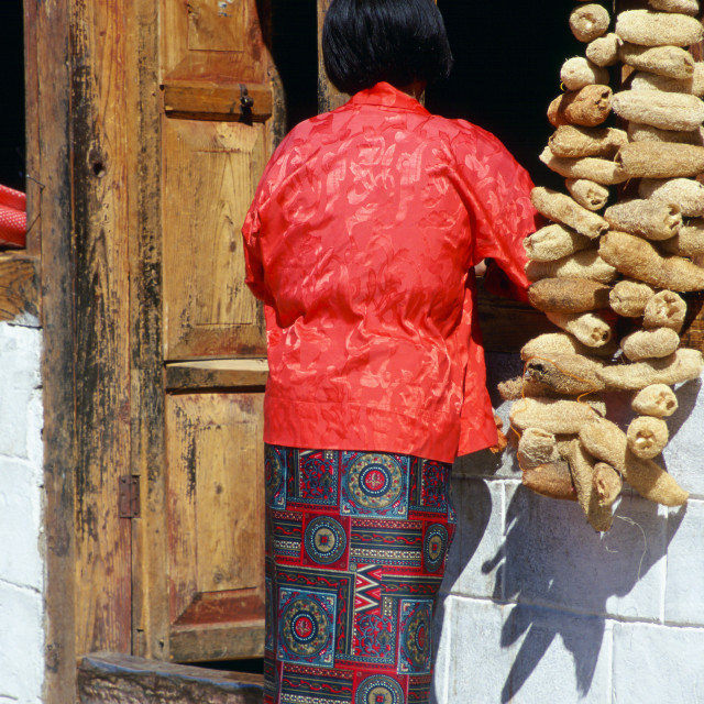"""Woman with loofahs, Paro, Bhutan"" stock image"