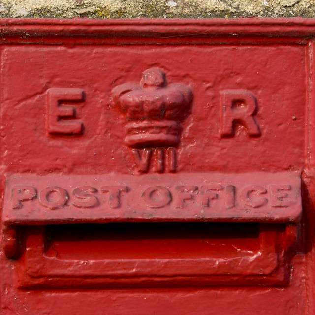 """""""Wall Mounted Post-Box showing the cipher ER for the reign of Queen Elizabeth..."""" stock image"""