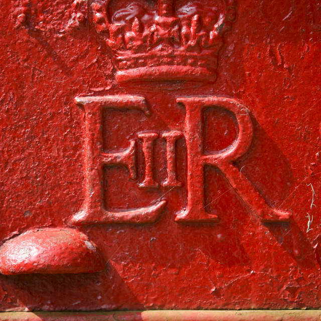 """""""Royal Mail Post-Box with the cypher of the Queen's initials E II R to mark..."""" stock image"""