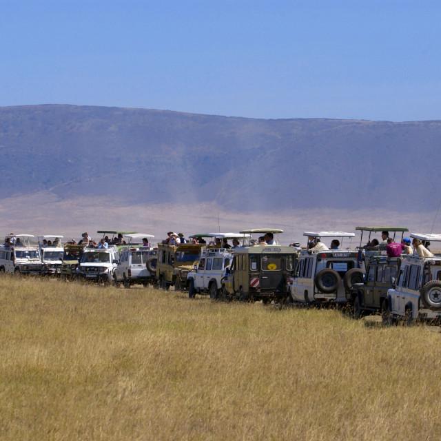 """Tourists in the Ngorongoro Crater,Tanzania"" stock image"