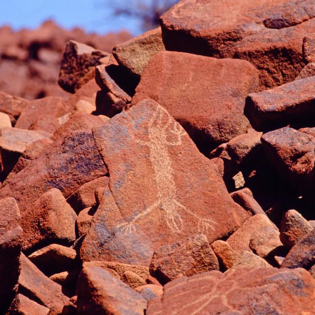 """Aboriginal rock painting, Deep Gorge, Australia"" stock image"