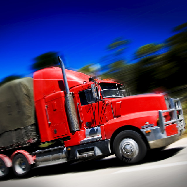 """""""Truck on the Great Western Highway from Sydney to Adelaide, New South Wales,..."""" stock image"""