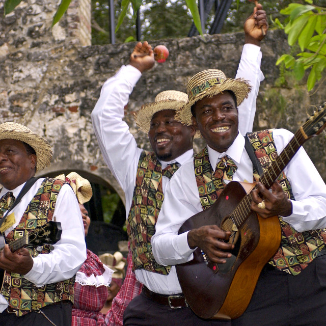 """Muscians, playing guitar, banjo and maracas, in reggae style at cultural..."" stock image"