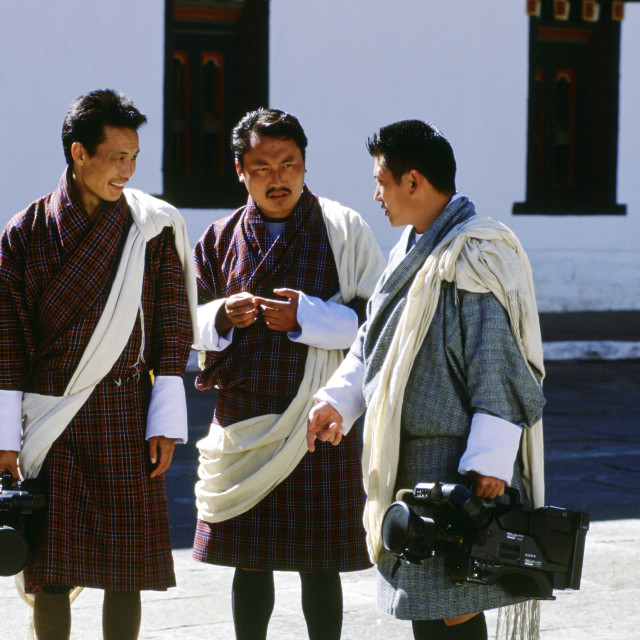 """""""Press corps with video cameras at the Royal Palace, Bhutan"""" stock image"""
